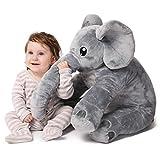 """corimori 1849 Elefant """"Nuru"""" Plüsch-Tier, großes Schmuse-Kissen für Babies und Klein-Kinder, bauschig und weich, kuschel-softe Baby-Qualität, grau"""