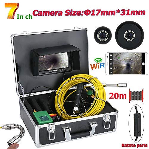 Jackeylove 17MM Rohrleitungsinspektionsvideokamera, 7inch WiFi Wireless DVR 20M Wasserdichte Abflussrohr Kanalisationsinspektion 1000TVL Kamera-System mit 8pcs LED-Leuchten -