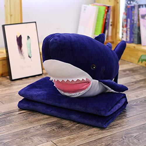 Plüsch Toy Kissen Quilt Dual Verwenden Office Nick-Kissen Niedliche Mädchen Sofa Stuhl Kissen Deep Blue Haie Kissen (70 * 30cm) + Velvet Blanket (100 * 170cm) ()