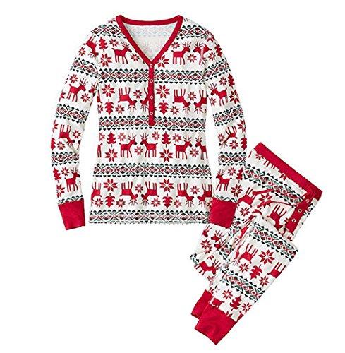 Landove Pijamas Navidad Familia Conjunto Pantalon y Top Fiesta Manga Larga Trajes Navideños Pijama Dos Piezas Mujer Hombre Niños Niña Ropa de Dormir para Bebés Mamá Papá Romper Homewear Sleepsuit
