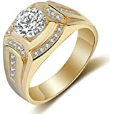 TOOGOO Anillo Chapado en Oro de 18 Quilates Anillo de los Hombres de Diamante de Zirconia cubica Compromiso de la Boda de los