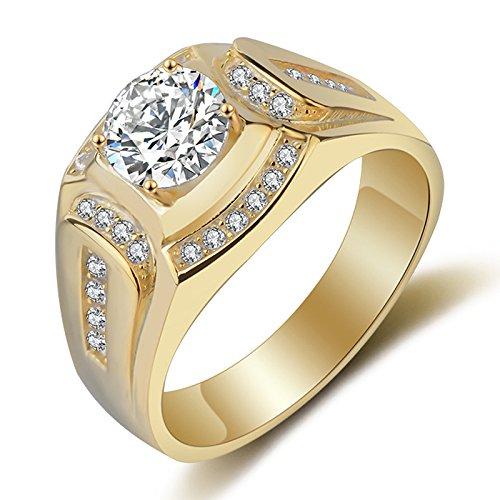 SODIAL 18K Gold ueberzogener Ring der Maenner Hochzeit Engagement Zirkonia Diamant Herren Ring (US8)
