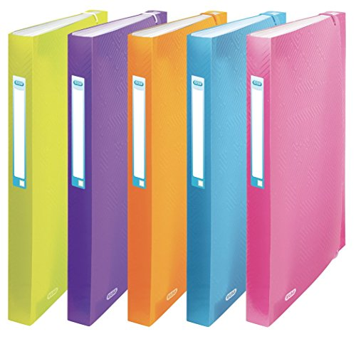 ELBA Fächermappe Urban aus Kunststoff DIN A4 8 Fächer 10er Pack mit 5 transluzenten Farben, sortiert - ideal für Büro Schule und die mobile Organisation