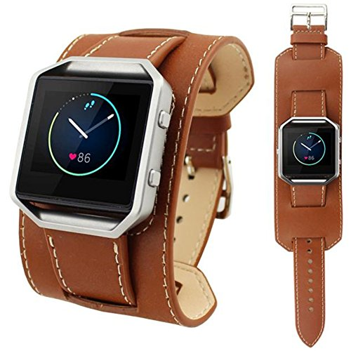 HappyTop – Lederarmband, 23mm Armband, Ersatz-Armband für Fitbit Blaze Smart Watch, Herren, braun - Gps-lock