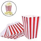 Youger 36Stück Papier Popcorn Boxen Staubbeutel Kids Party Popcorn Candy Container Boxen Staubbeutel Party Vorräte ¨ weiß & rot