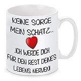 Herzbotschaft Tasse mit Motiv Modell Keine Sorge Mein Schatz, Keramik, Weiß, 11 x 11 x 11 cm