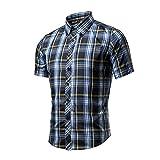 Feicuan Herren Freizeithemd Kurzarm Karo Hemd Western Cowboy Shirt