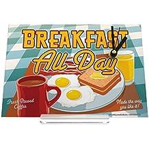 Reloj de escritorio Diversión Nostálgica Huevos desayuno taza de café fritos tostadas zumo de naranja