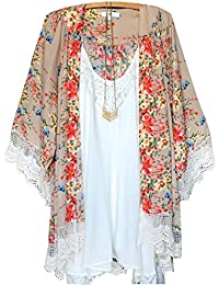 Sexy Damen Bademode Floral Lace Cardigan Kimono Kaftan Cover Up Beach Kleid