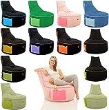 GlueckBean Hochwertiger Sitzsack mit Seitentaschen - Indoor & Outdoor - Gaming Sessel Sitzkissen mit Styroporkugeln Füllung - auch ideal für Kinderzimmer - Anthrizit mit Grau