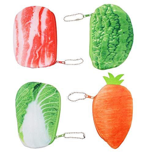 Kreative Geldbörse mit Plüsch, 3D Gemüse-Münzbeutel für Kinder, Münzkassette Wallet Key Holder Clutch, Kopfhörer, Datenkabel-Speicherpaket, Geschenk für Junge Mädchen (4er Pack Gemüse) - E-geld-sorter