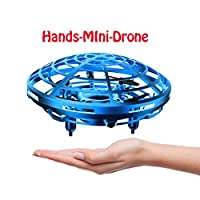 DaycMy Mini UFO Flying Ball Toys, Hand-Controlled Drone Quadcopter Flying Ball Toy Drones ,Infrared Induction Interactive Drone Indoor Flyer Toys with 360° for Kids, Teenagers Boys Girls(Blue)