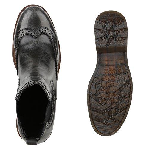 Damen Chelsea Boots Profil Sohle Lochmuster Stiefeletten Grau