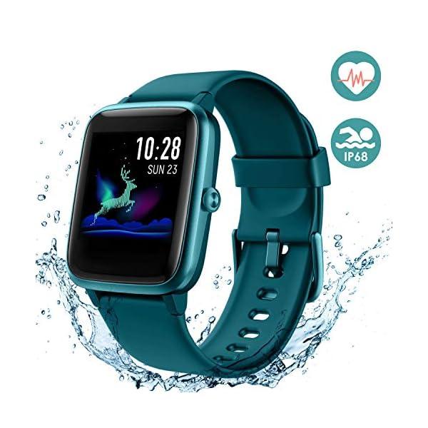 Arbily Reloj Inteligente Pantalla Táctil Completa Pulsera de Actividad Smartwatch Mujer Hombre Niño Reloj Deportivo a Prueba de Nadar Impermeable Podómetro Monitor de Sueño para iOS Android (Azul) 1