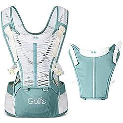 Mochila Portabebé 4 en 1 de Diseño Ergonómico con Múltiples Posiciones Ajustable Portadores Marsupios para Recién Nacidos/Bebés Dos cinturones de repuesto para Verano y Invierno (Turquesa)