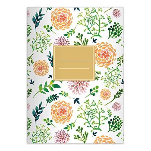 lüten reiches Notizheft DIN A4 Schulheft, Schreibhefte mit Sommer Blumen in orange grün Lineatur 25 (liniertes Heft) ()