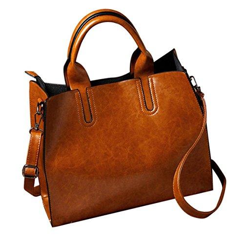 Moonuy,Frauen Taschen, Leder Handtasche Messenger Schultertasche Satchel Schulranzen Drei Fashion Softback Schultertaschen Vielseitige Reißverschlusstasche (Braun)