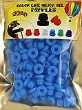 Confezione da 100 gommini in silicone di colore blu a forma di H per fissare l'ago da tatuaggio, con funzione di bloccaggio a scatto, in sacchetto chiuso ermeticamente