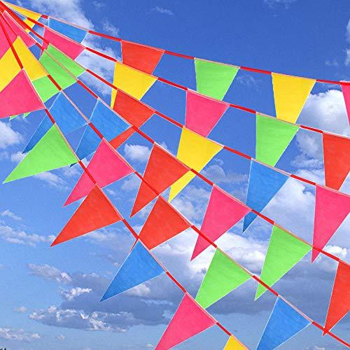 (HO2NLE 75 Stück Wimpelkette Girlande Wimpel Banner Stoff Bunting Dreieck Flagge Draußen Indoor Deko für Geburtstag Party Festival Garten 5 Farbe 5m)