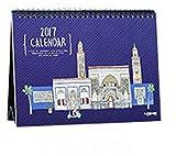 babasm Creative 2018Vintage City Desktop Flip Kalender Monat zu View Stand Up Office Home Tisch Planer Kalender Notebook (Tief Blau)