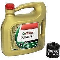 Castrol 4055029025349 Número 1 Cambio de aceite Castrol Power 1 juego de filtros 10W / 40 Motor Oil Racing HiFlo aceite para Suzuki Hayabusa 1300 anillo de ...