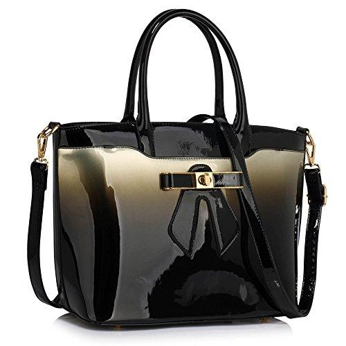 Trendstar Damen Handtaschen Der Frauen Große Taschen Schulterlackleder Konstrukteur Stil (Y - Bourgogne) Z - Silber