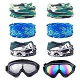 MOOKLIN 2pcs Occhiali di Protezione UV e 6pcs Multi-Purpose Maschera Tattica per Pistole Anti-Schiuma Nerf N-Strike Elite Series Gioco Protezione degli Occhi