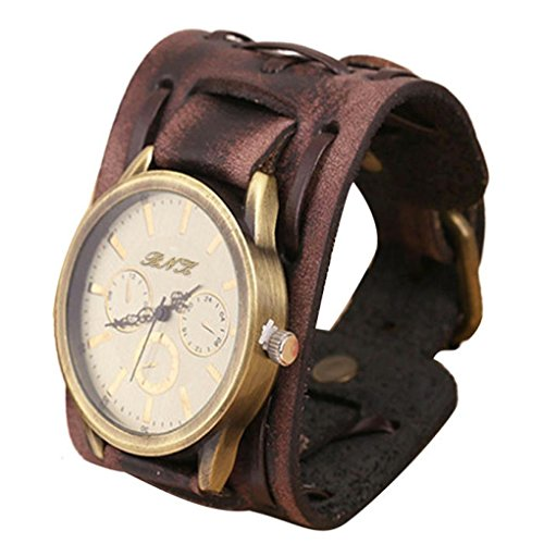 Winkley Herren-Armbanduhren im Retro-Punkrock-Stil, braun, mit großem, breitem Lederarmband, Manschetten-Stil, cool. braun