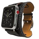 MoKo Armband für Apple Watch Series 3/2 / 1 38mm, Cuff Lederarmband Wrist Band Uhrband Uhrenarmband Erstatzband Uhr Band mit Schnalle und Mentallschließe, Schwarz