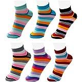 Neska Moda Pack of 6 Pair Women's Multicolor Cotton Ankle Length Socks