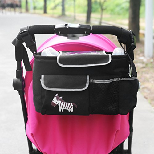 NUOYO BOCIDEAL - COCHECITO DE BOLSA DE BEBE ORGANIZADOR  PONER BUGGY CESTA BOTELLA BOLSAS  BABY CARRIAGE AND HANGING BAG FOR THE CHILDREN  EL PATRON :CEBRA