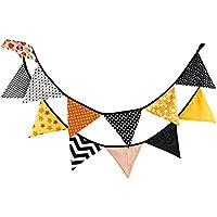 Outflower banderines Florales de Doble Cara de Tela para Boda, Fiesta, banderines Triangulares