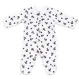 Nini Baby Schlafanzug Unisex navy weiß | Motiv: Maritim | Babystrampler aus Bio Baumwolle für Neugeborene & Kleinkinder | Größe: 3 Monate (62)