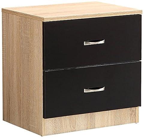 Sen Furniture Kanya 2 Drawer Bedside Cabinet, Black high gloss drawers with Sonoma Oak frame.