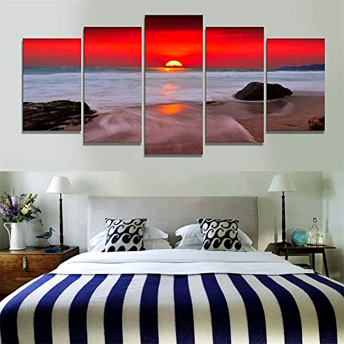 Comecong Dekorative Malerei,Wulian hd Inkjet Strand seelandschaft Hause Musik Restaurant wandmalereien 2 malerei Kern 20x35cmx2 20x45cmx2 20x55cmx1