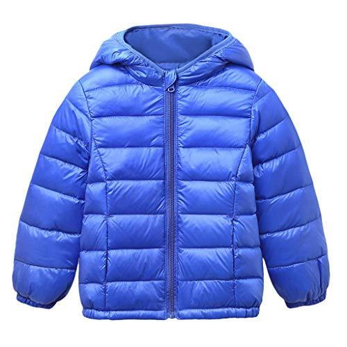 Livoral Kleinkind Baby Mädchen Jungen Winter-Fest windundurchlässiges Mantel mit Kapuze Warm Outwear Jacke(Blau,90)