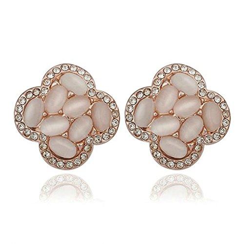 Gnzoe Gioielli 18K Oro Rosa Placcato Stud Orecchini Donna Amore Cluster Opal Cristallo Eco Amichevole