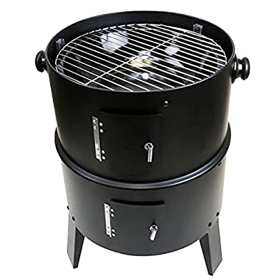 first4spare quamis436 3 Etagen Multifunktions-Barbecue Smoker Grill – schwarz