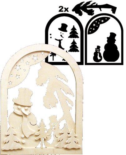 Unbekannt Holz Bastelset 3-D - Fensterbild Schneemann - komplett ausgesägt Natur / zum selber basteln - Echt Erzgebirge Deko für Weihnach..