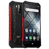 Telephone Portable Incassable Ulefone Armor X3 (2019) Android 9.0, Écran 5.5 Pouces HD+, 32Go + 2Go Batterie 5000mAh, Double SIM Nano Face ID Smartphone Pas Cher Mode sous-Marin et Gant - Rouge