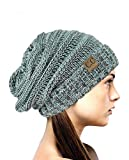 NYfashion101 Lose bauschige Winter Strickmütze Beanie - Minzgrün Mix
