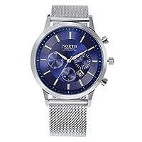 Bescita NORTH Calendar Quartz Wrist Watch Stainless Steel Bracelet Men Watch (Blue)