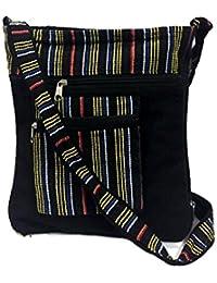 Black Embroidery Bohemian Crossbody Sling Bag Cotton Handmade Passport Handbag