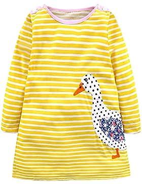 IPBEN Baby Mädchen Prinzessin Kleid Mädchen Jerseykleid mit Streifen Crewneck Kleid