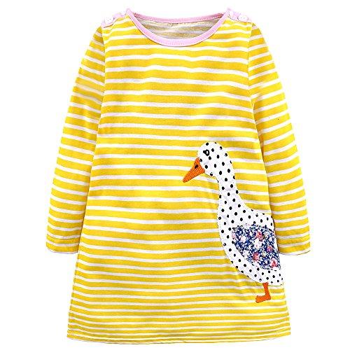 IPBEN Vestido Rayas Niñas,Vestido Sudadera de Niñas Niña Linda Dibujos Animados Impresión Manga Corta/Manga Larga Vestidos (2 años, Pato Amarillo)