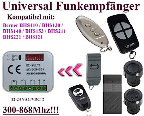 Universal Funkempfänger kompatibel mit Berner 868,3Mhz BHS110, BHS121, BHS130, BHS140, BHS153, BHS211, BHS221 handsender. 2-befehl Rolling Fixed code 300Mhz-868Mhz 12 - 24 VAC/DC Funkempfänger. - Control Board Torantriebe