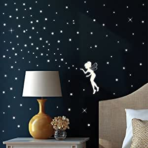 fluorescent fairy elf and 130 glow in the dark stars wall decal for a starry sky. Black Bedroom Furniture Sets. Home Design Ideas