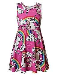Jxstar Girls Princess Dress Unicorn Printed Cartoon Pattern Sleeveless Dress