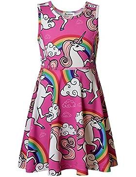 Jxstar Kleine Mädchen 'Tier Kleid Einhorn Wolken Gedruckt Ärmelloses Schlittschuhläufer Kleid