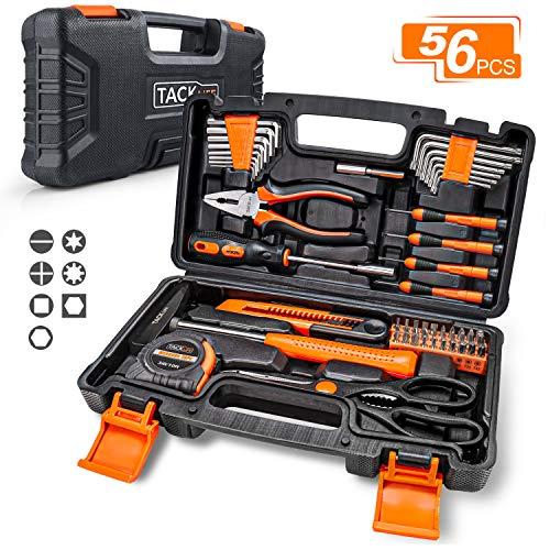 Haushaltskoffer,TACKLIFE 56-teilig Multifunktion-Werkzeugkoffer, Reparaturwerkzeugset für den Heimgebrauch, perfekt für alle Heimwerkerarbeiten mit Hammer, Messer, Schraubendreher - HHK3B